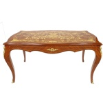 Casa Padrino Luxus Barock Schreibtisch Mahagoni Intarsien / Gold 160 cm - Antik Stil Sekretär Luxus Möbel