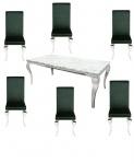 Casa Padrino Designer Esszimmer Set Edelgrün / Silber / Weiss - Esstisch 180 cm + 6 Stühle - Modern Barock