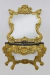 Casa Padrino Barock Spiegelkonsole mit Marmorplatte Gold Schwarz 120 x H. 220 cm