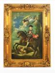 Handgemaltes Barock Öl Gemälde Reiter mit Engel Gold Prunk Rahmen 130 x 100 x 10 cm - Massives Material