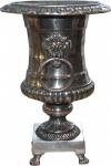 Casa Padrino Antik Stil Vase Lion aus Aluminium vernickelt - Pflanzentopf - Hotel Dekoration - Barock Blumengefäss