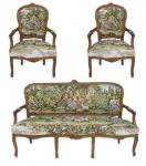 Casa Padrino Barock Sitzbank Set Gobelin / Braun - 1 Sofa + 2 Sessel