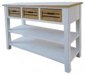 Casa Padrino Landhausstil Konsolentisch mit 3 Schubladen Antik Weiß / Naturfarben 115 x 41 x H. 87 cm - Handgefertigte Konsole im Landhausstil