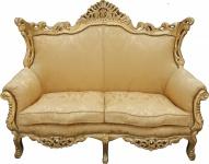 Casa Padrino Barock 2er Sofa Master Gold Blumen Muster/ Gold 2Mod - Wohnzimmer Couch Möbel Lounge