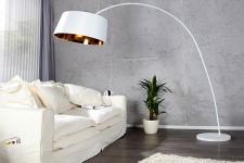 Designer Stehleuchte mit flexiblem Schirm, Weiss / Gold Höhe: 200 cm - Leuchte Lampe