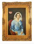 Handgemaltes Barock Öl Gemälde Dame 2 Gold Prunk Rahmen 130 x 100 x 10 cm - Massives Material