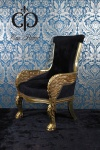 Casa Padrino Barock Lounge Sessel Eagle Feather Schwarz / Gold Möbel Antik Stil - Wohnzimmer Club Möbel Sessel Thron