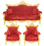 Casa Padrino Barock Wohnzimmer Set Bordeaux Samtstoff / Gold - 3er Sofa + 2 Sessel