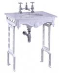 Casa Padrino Luxus Jugendstil Stand Waschtisch Weiß / Weiß mit Marmorplatte - Barock Waschbecken Barockstil Antik Stil