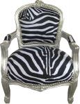 Casa Padrino Barock Kinder Stuhl Zebra / Silber - Kindermöbel
