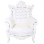 Casa Padrino Barock Sessel Al Capone Weiß / Weiß mit Bling Bling Glitzersteinen - Möbel Antik Stil