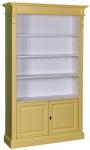 Casa Padrino Landhausstil Bücherschrank Gelb / Weiß 119 x 39 x H. 197 cm - Wohnzimmerschrank im Landhausstil