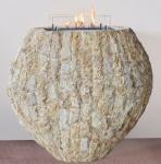 Casa Padrino Luxus Ethanol Kamin mit einem keramischen Bioethanolbrenner Naturfarben / Weiß 90 x 40 x H. 85 cm - Freistehender Naturstein Kamin im Design einer Vase