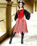 Alvilda Striped Skirt red/white- Medieval Skirt Pirate