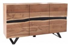 Casa Padrino Designer Sideboard Natur B.150 x H.85 x T.43 - Fernsehschrank - Kommode - Handgefertigt aus Massivholz!