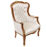 Casa Padrino Barock Lounge Sessel Beige / Mahagoni Braun / Gold - Limited Edition