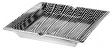 Casa Padrino Porzellan Aschenbecher Schwarz / Weiß 24 x 24 x H. 3 cm - Luxus Qualität