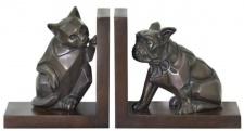 Casa Padrino Luxus Buchstützen Set Katze & Hund Bronze / Braun 18 x 18 x H. 10 cm - Deko Bronzefiguren mit Holzsockel