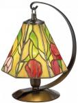 Casa Padrino Luxus Tiffany Tischleuchte / Hockerleuchte Rosen Mehrfarbig Ø 15 x H. 23 cm - Handgefertigte Leuchte aus 94 Teilen