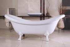 Freistehende Luxus Badewanne Jugendstil Venedig Weiß/Weiß 2020 mm - Barock Badezimmer - Retro Antik Badewanne