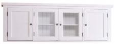 Casa Padrino Landhausstil Küchenhängeschrank / Oberschrank Weiß 192 x 31 x H. 65 cm - Küchenschrank mit 4 Türen