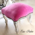 Casa Padrino Barock Fußhocker Rosa / Silber - Antik Stil Möbel - Hocker