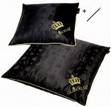 Harald Glööckler Designer Seiden Luxus 3 Kammer Kopfkissen Set 40 x 40 cm & 80 x 80 cm Schwarz / Gold + Casa Padrino Luxus Barock Bleistift mit Kronendesign