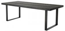 Casa Padrino Luxus Esstisch mit Eichenfurnier Tischplatte Schwarz / Bronze 230 x 100 x H. 75, 5 cm - Luxus Esszimmermöbel