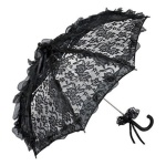 Romantischer Brautschirm Hochzeitsschirm mit schwarzer Spitze von MySchirm.de