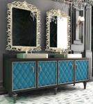 Casa Padrino Luxus Barock Badezimmer Set Schwarz / Blau / Gold - 1 Waschtisch mit 4 Türen und 2 Waschbecken und 2 Wandspiegel - Prunkvolle Badezimmermöbel