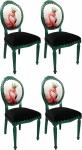 Casa Padrino Luxus Barock Esszimmer Set Flamingo mit Krone Grün / Schwarz / Mehrfarbig 48 x 50 x H. 98 cm - 4 handgefertigte Esszimmerstühle mit Bling Bling Glitzersteinen - Barock Esszimmermöbel