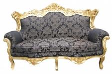 Casa Padrino Barock 2er Sofa Master Schwarz Muster/ Gold 2Mod - Wohnzimmer Couch Möbel Lounge