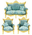 Casa Padrino Barock Wohnzimmer Set Master Türkis-Blau Muster Samtstoff / Gold - 2er Sofa + 2 Sessel - Limited Edition!