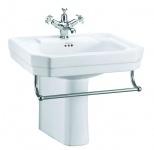 Casa Padrino Luxus Porzellan Waschbecken mit halben Sockel und Handtuchhalter 56 x 47 x H. 50 cm