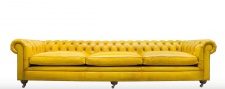 Casa Padrino Luxus Chesterfield 3er Sofa Gelb 320 x 110 x H. 71 cm - Luxus Leder Möbel
