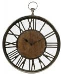 Casa Padrino Luxus Wanduhr im Design einer antiken Taschenuhr Silber / Naturfarben Ø 45 cm - Dekorative runde Uhr mit einem Ziffernblatt aus unbehandeltem Holz