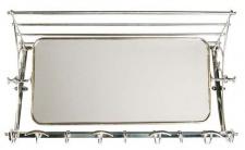 Französische Luxus Wandgarderobe mit Spiegel Silberfarben Edelstahl Garderoben Halter Mod Strasbourg - Garderobe Antik Stil Barock Jugendstil Hotel, Cafe Restuarant Möbel