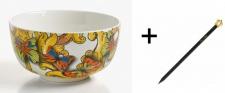 Harald Glööckler Porzellan Schale 20 cm + Luxus Bleistift von Casa Padrino - Barock Dekoration