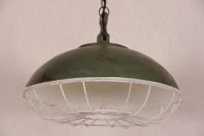 Casa Padrino Hängeleuchte Deckenleuchte Antik Stil Grün Industrial Vintage Design 45cm Durchmesser - Industrie Lampe Hänge Leuchte