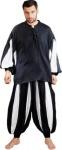 European Medieval Piraten Shirt - Black - White