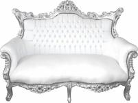 Casa Padrino Barock 2-er Sofa Master Weiß Lederoptik / Silber - Antik Stil Möbel