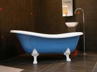 Freistehende Luxus Badewanne Jugendstil Roma Hellblau/Weiß/Weiß 1470mm - Barock Antik Stil Badezimmer