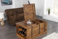 Casa Padrino Designer Massivholz Couchtisch Natur 100 x H. 40 cm - Hausbar - Salon Wohnzimmer Tisch - Unikat