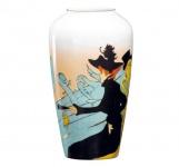 Handgearbeitete Vase aus Porzellan mit einem Motiv von T. Lautrec, Höhe 22 cm - feinste Qualität aus der Tettau Porzellanfabrik - wunderschöne Vase
