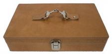 Casa Padrino Luxus Leder Uhrenbox Braun / Silber 25 x 20 x H. 10 cm - Luxus Accessoires