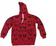 Sabre Skateboard Hoodie Zip Red/Black Skull