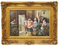 Casa Padrino Barock Öl Gemälde Empfang Gold Prunk Rahmen 130 x H. 100 cm - Prunkvolles Gemälde im Barockstil