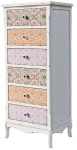 Casa Padrino Landhausstil Kommode Antik Weiß / Mehrfarbig 52 x 38 x H. 120 cm - Möbel im Shabby Chic Design