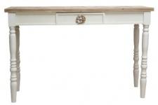 Casa Padrino Landhausstil Konsole Weiß / Braun 120 x 40 x H. 77 cm - Landhausstil Möbel