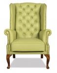 Casa Padrino Chesterfield Echtleder Ohrensessel Hellgrün 80 x 80 x H. 110 cm - Luxus Sessel